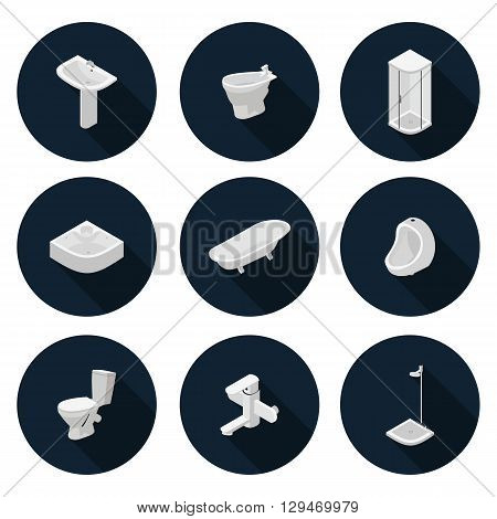3D flat icons sanitary ware in vector format eps10