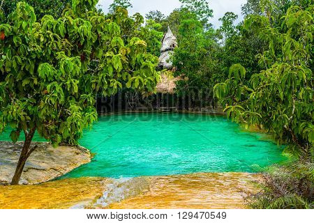 Emerald Pool aka Sa Morakot Khao Pra Bang Khram Wildlife Sanctuary Krabi Thiland. National Park Krabi Thailand tourist destination. Green color tropical lake Southeast Asia poster