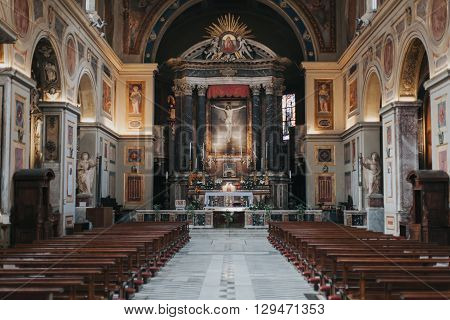 Rome, Italy - April 21, 2016: San Lorenzo in Lucina church inside view on April 22, 2016 in Rome, Italy.