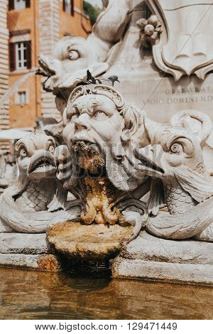 Close up detail of fountain in Piazza della Rotonda. Rome, Italy.