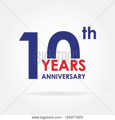 10 years anniversary sign or emblem. Template for celebration and congratulation design. Colorful vector 10th anniversary label.