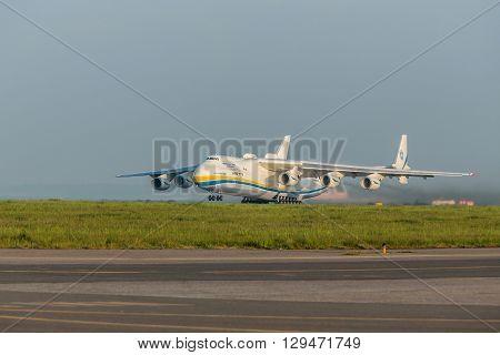 PRAGUE CZE - MAY 12: Antonov 225 Mriya airplane departs from runway on Airport Vaclava Havla in Prague May 12 2016 PRAGUE CZECH REPUBLIC. The biggest airplane in the world.