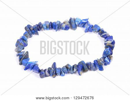 Splintered Lapis Lazuli Chain On White Background