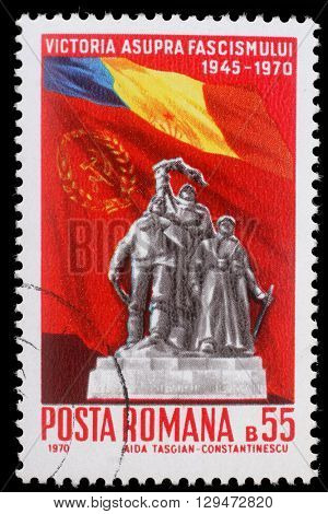 ZAGREB, CROATIA - JULY19: a stamp printed in Romania shows Victory Monument and flags of Romania and USSR  25 Years - Victory Over Fascism, circa 1970, on July19, 2012, Zagreb, Croatia