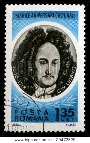 ZAGREB, CROATIA - JULY19: a stamp printed in Romania shows Gottfried Wilhelm von Leibniz, German polymath, mathematician and philosopher, circa 1966, on July19, 2012, Zagreb, Croatia