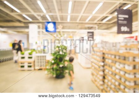 Abstract Blur Image Of Home Mart Department Store
