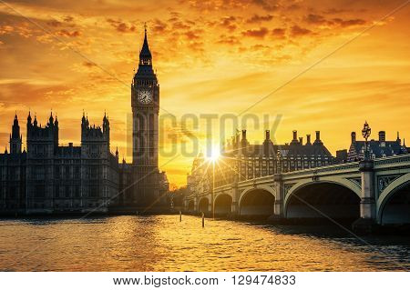 Big Ben and Westminster Bridge at dusk London UK