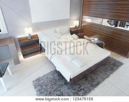 Contemporary bedroom in bright colors with brown furniture and a shaggy gray carpet. 3D render.