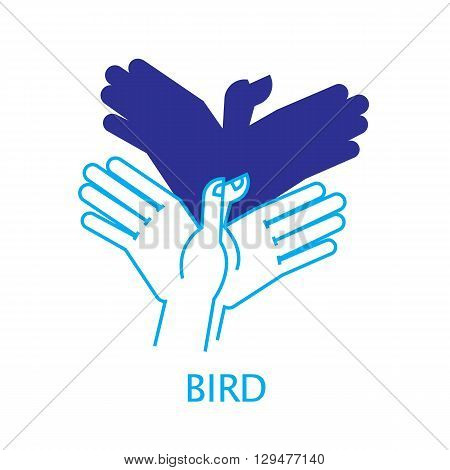 Shadow Hand Puppet Bird. Vector Illustration of Shadow Hand Puppet Isolated on a White Background. Shadow Theatre or Shadow Play. Icon of Shadow Hand Puppet Bird in Mix Style - Thin Line and Flat.
