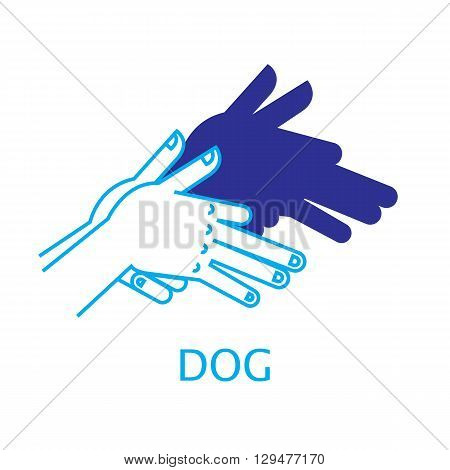 Shadow Hand Puppet Dog. Vector Illustration of Shadow Hand Puppet Isolated on a White Background. Shadow Theatre. Icon of Shadow Hand Puppet Dog in Mix Style - Thin Line and Flat.
