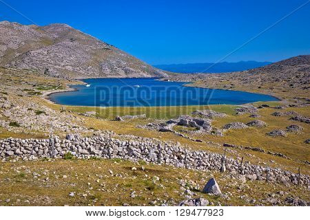 Sailing bay Mala Luka stone desert Island of Krk Croatia