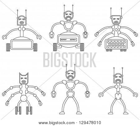 Set of angry evil robots. Future vicious mechanical life form. Vector illustration.