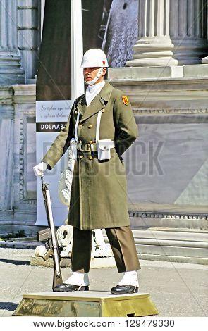 ISTANBUL TURKEY - MARCH 09 2008: Turkish guardman near Dolmabahce palace Istanbul Turkey
