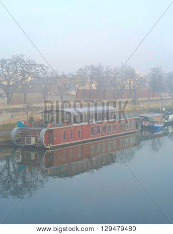 Foggy Wistula River. Krakow, Poland