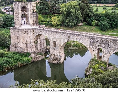 View of the bridge and fortress to access to Besalu Spain