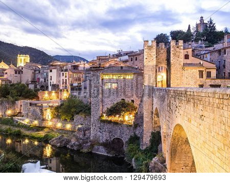 Sunset in the village of Besalu, Catalonia