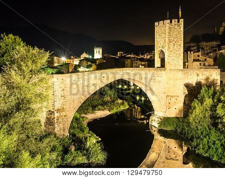 The Besalu bridge at night, Catalonia, Spain