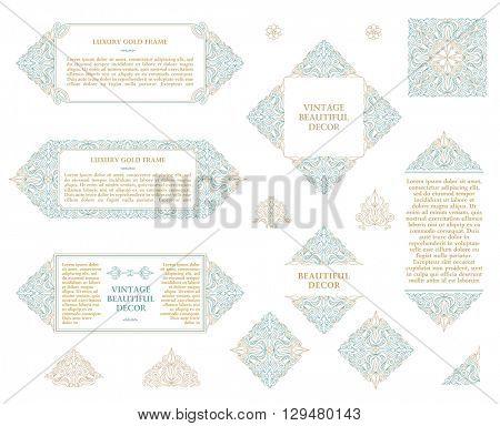 Arabic vector set of frames and lines of art design template. Muslim outline elements and emblems. Eastern floral frame. Logos lines decor for menu, postcard, restaurant, wedding invitation