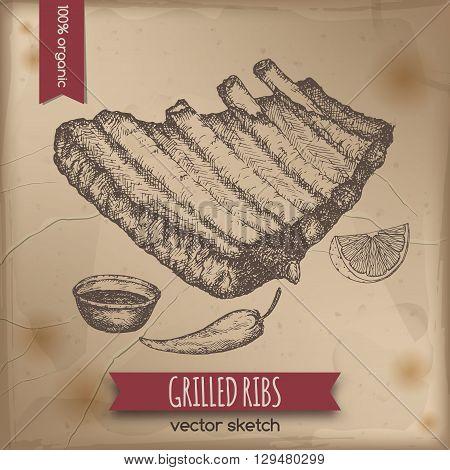 Vintage grilled ribs template placed on old paper background. Great for market, restaurant, grill cafe, food label design.