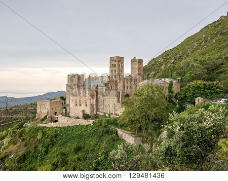 An evening view of the Sant Pere de Rodes monastery in Catalonia Spain.