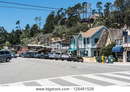 Cambria,California,USA - July 14, 2015 : Houses along the Main Street in Cambria