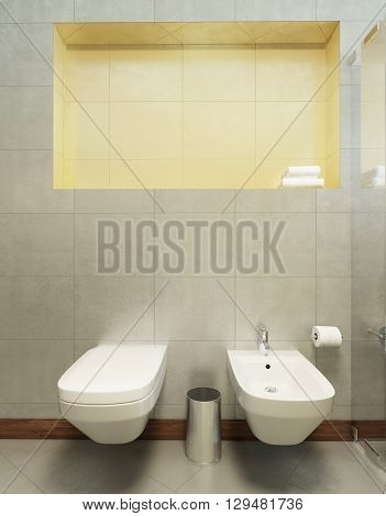 Suspended toilet and bidet on the wall tiles in gray. 3D render.