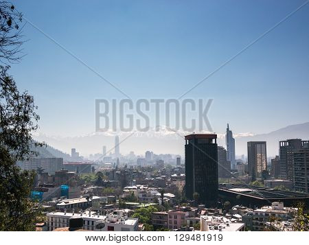 View of the mountains of Santiago de Chile from the Cerro Santa Lucia (Santa Lucia Hill)