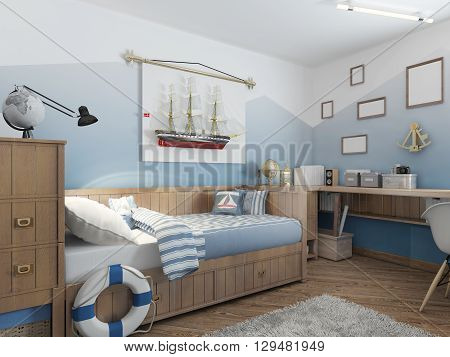Baby bed for a young teenager in a ship style with a lifeline and nautical décor. Modern interior of a child's room in a nautical theme. 3D render.