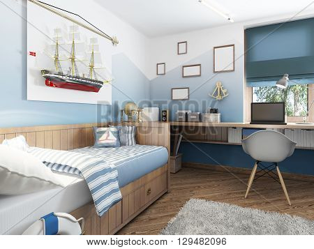 Children's room in the marine style. Bed and table in the children's room for a teenager with the decor. A large model of a ship on the wall. 3D render.
