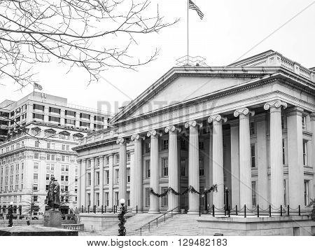 The Treasury department building near the White House. Washington DC