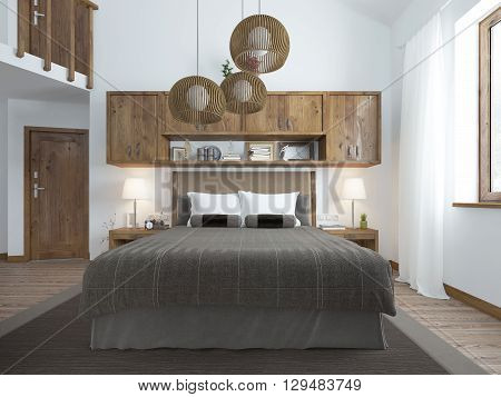 Frontal view of the bed in the bedroom in the loft. Furniture is rustic shades. Chandeliers hang from the ceiling above the bed and shelves. 3D render.