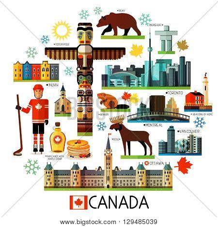 Vector Set of Various Canada Icons on a Circle Shape.
