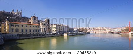 Panoramic view of Saone river in Lyon city France