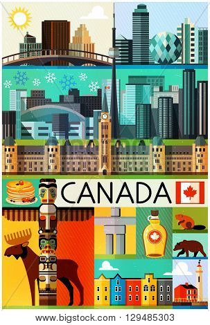 Canada Travel Pattern. Vector illustration. Illustration of Canada Sightseeings.