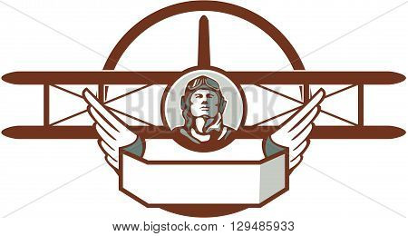 Illustration of a vintage world war one pilot airman aviator bust with spad biplane fighter plane set inside circle done in retro style.