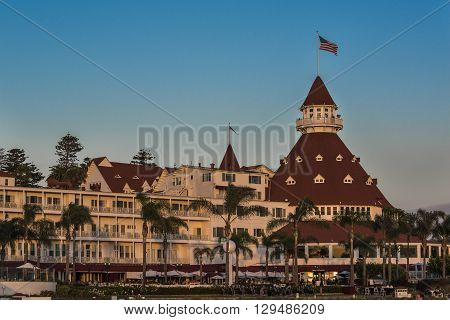 San Diego, USA - October 29, 2015: Famous Hotel del Coronado during sunset in San Diego, California