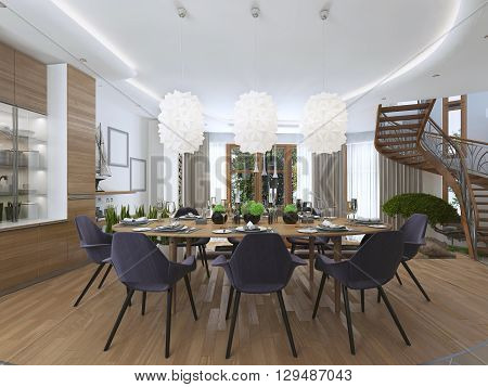 Luxury dining room in a contemporary style with a large dining table for eight people. Luxury white chandelier hanging over the table of opaque plastic. 3D render.