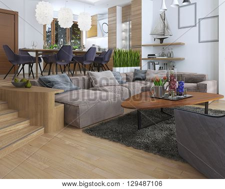 The room is a studio with kitchen and dining area and a living room on the lower level in the Contemporary style. Sideboard with utensils and decorations on the shelves. 3D render. poster