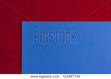 Eva foam ethylene vinyl acetate smooth blue surface on red sponge plush background