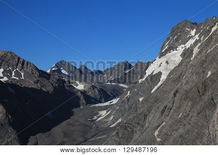 View from the Sealy Tarns Track. Mountain landscape near Mt Cook New Zealand.
