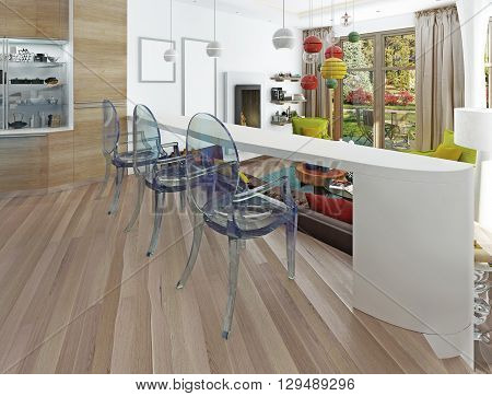Modern white bar with three transparent chairs. The bar counter in the kitchen-dining room overlooking the living room. 3D render.