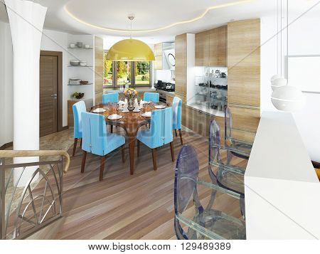 Modern dining room with kitchen in a trendy style kitsch. Round dining table with comfortable blue chairs. And a big yellow chandelier over the table. 3D render.