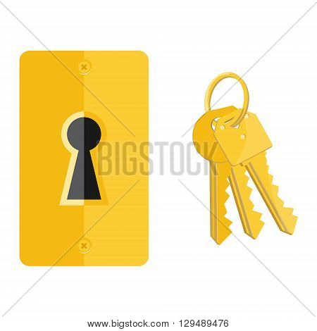 Vector illustration golden key hole and bunch of keys. Keyhole and key icon set collection
