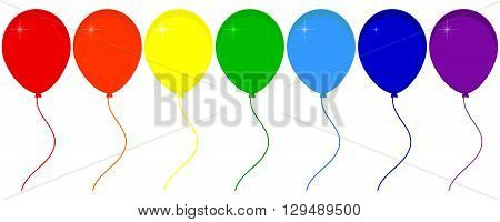 Vector illustration seven balloons with ribbon isolated on white background. Balloon icon. Festive balloons. Red orange yellow green blue and purple party balloons. Rainbow