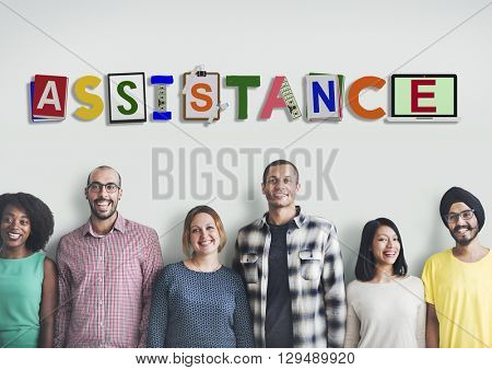 Assistance Aid Help Charity Word Design Concept