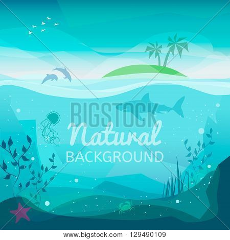 Tropical sea natural background. Landscape of marine life - Island in the ocean and underwater world with different animals. Low polygon style flat illustrations. For web and mobile phone print.