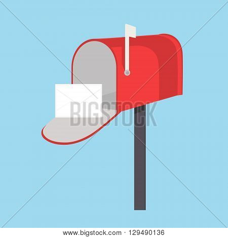 Vector illustration red mail box with white flag and message letter envelope on blue background. Mailbox icon flat design