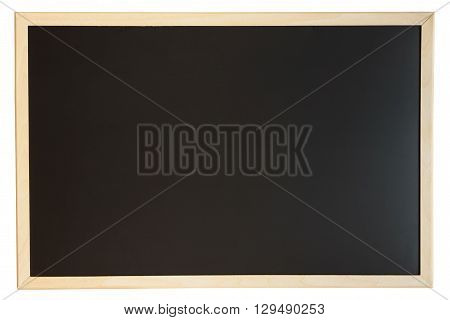 Close up view of a black chalkboard with softwood frame. Chalk on the blackboard has been cleaned/rubbed out. Primitive teaching style. Background texture and empty space for further creative design.