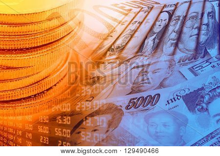 Coins forex trading panel and portraits / images of famous leaders on banknotes currencies of the most dominant countries in the world i.e. Japanese yen US dollar Chinese yuan Australian dollar.