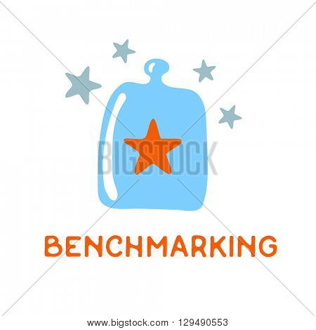 Benchmarking concept logo. Benchmark under a glass cover, vector icon